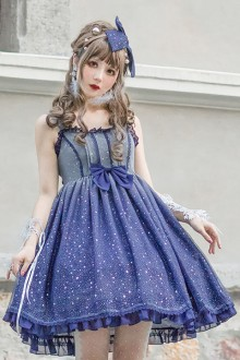 Original Design 《Gradient Starry Sky》 Blue Sweet Lolita Dress