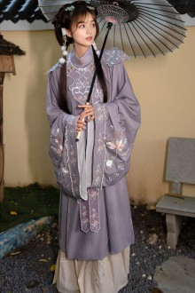 "Original Autumn And Winter Models ""Xifu Youlanming System"" Stand-Collar Embroidery Three-Piece Hanfu Dress 2 Colors"