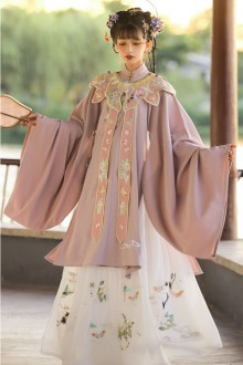 Original <Ming System> Stand Collar Embroidered Pink Hanfu Dress