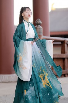Original Chinese Style Costume Full Set Of Green Tang Dynasty Hanfu