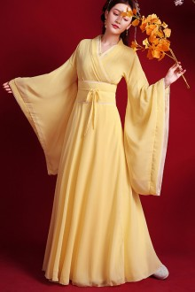Original Design Chinese Style Wide Sleeve Yellow Tang Dynasty Hanfu