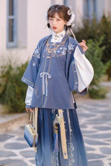 Original Design <Yu Xuexiang> Improved Blue Ancient Chinese Hanfu