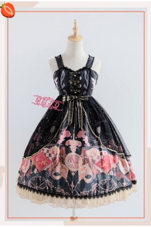 Strawberry Witch The Clock Adventure Original Printing Sweet Lolita JSK Dress With Overskirt Version I