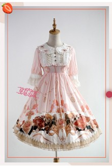 Strawberry Witch The Clock Adventure Original Printing Short Sleeves Sweet Lolita OP Dress