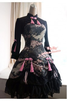 Strawberry Witch Sakura and Crane Chinese Style Printed Lolita OP Dress
