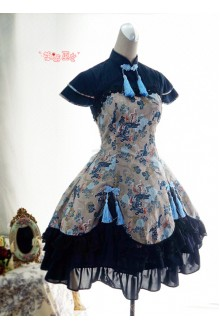 Strawberry Witch Kylin & Sienna Chinese Style Printed Lolita OP Dress