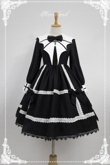 Neverland Devil Wing Long Sleeves Gothic Lolita OP Dress With Detachable Collar