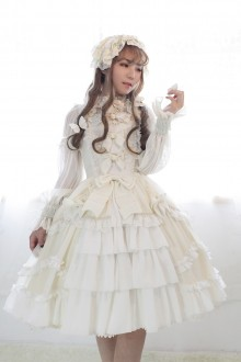 Neverland Bell Pure Color Lace Lotus Leaf Elegant Lolita JSK Dress With Front Open Design