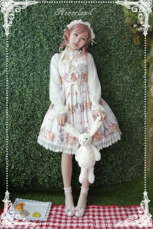 Neverland Cute Rabbit Printing High Waist Sweet Suspenders JSK Dress 4 Colors
