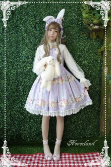 Neverland Cute Rabbit Printing Round Collar High Waist Sweet Lolita JSK Dress 4 Colors