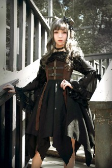 Neverland Pirate Ship Steam Punk Irregular Hem Gothic Lolita JSK Dress