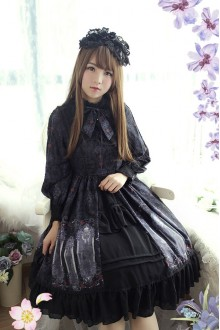 Rose Valley Nightmare Curse Long Sleeves Fake Collar Two Pieces Gothic Lolita OP Dress 4 Colors