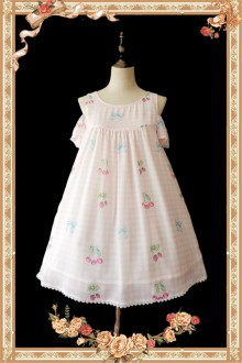 Infanta Cherry lattice Chiffon Sweet OP Dress 3 Colors