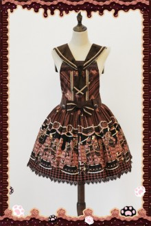 Infanta Chocolate Trojan Printing Sweet Lolita Strap Dress