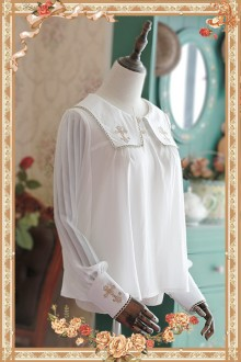 Infanta Cross Embroidery Chiffon Square Collar Long Sleeves Sweet Lolita Blouse 4 Colors