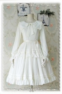 Infanta Lily Chiffon Long Sleeves Sweet Lolita OP Dress 5 Colors