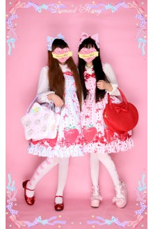 Diamond Honey Bow Big Strawberry Lovely Sweet Lolita JSK Suspenders Skirt 3 Colors