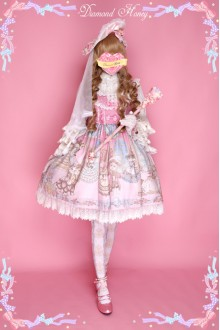 Diamond Honey Palace Ball Bow Gorgeous Retro Princess Classic Lolita JSK Suspenders Skirt