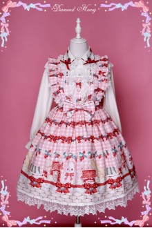 Diamond Honey Strawberry Rabbit In Picnic Lovely Spring Bows Lace Sweet Lolita Dress
