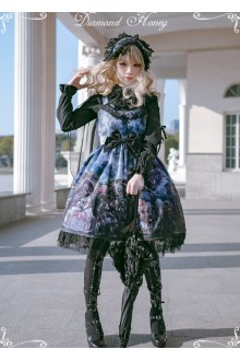 Diamond Honey Dragon and Knight Cats Retro Gorgeous Cat Fairy Tale Shawl Gothic Lolita JSK Dress