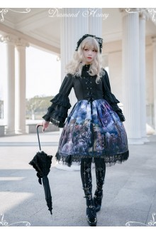 Diamond Honey Dragon and Knight Cats Retro Gorgeous Cat Fairy Tale Shawl Gothic Lolita JSK Dress 2 Version