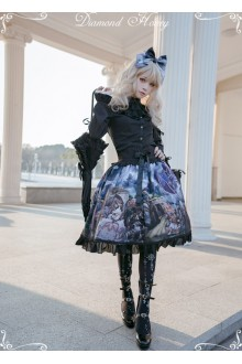 Diamond Honey Dragon and Knight Cats Vintage Gorgeous Cat Fairy Tale Shawl Gothic Lolita SK