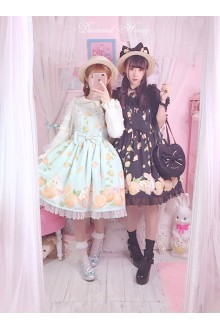 Diamond Honey Orange Rabbit Jam Girl Chiffon Lovely and Sweet Lolita Dress