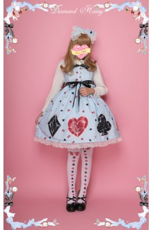 Diamond Honey Mirror Poker Alice Cute Sweet Lolita Suspenders Skirt