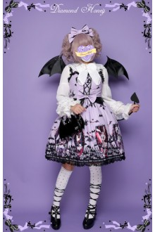 Diamond Honey Cemetery Carnival Dark Bats Coffin Halloween Gothic Lolita Dress