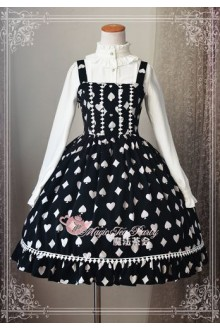 Magic Tea Party Poker Printing Chiffon Black Gothic Lolita Dress