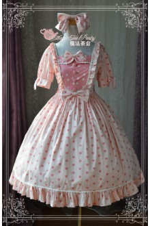 Magic Tea Party Pink Wish Original Printing Stitching Sweet Lolita OP Dress 2 Colors