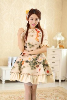 Chinese Style Koi Are Sporting  With Lotus Printing Classic Lolita Dress