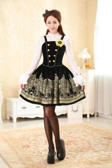 Vintage Rotating Pleasure Ground Printing Classic Lolita Suspenders Skirt 4 Colors