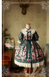 Magic Tea Party Flower Fairy Original Printing Half Sleeve Sweet Lolita OP Dress