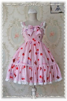 Infanta Cherry Chiffon Original Printing Little High Waist Sweet Lolita JSK