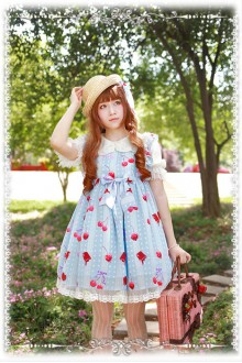 Infanta Cherry Chiffon Original Printing High Waist Flying Sleeves Sweet Lolita JSK Dress