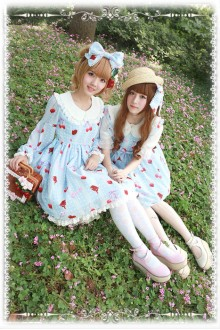 Infanta Cherry Chiffon Original Printing Sweet Lolita OP Dress