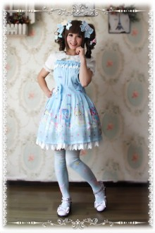 Infanta Sleeping Bear Printing Sweet Strap Dress 3 Colors