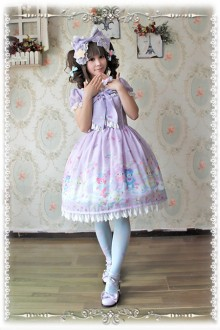 Infanta Sleeping Bear Printing Chiffon Sweet Lolita OP Dress