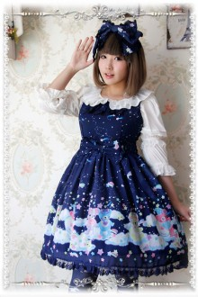 Infanta Sleeping Bear Printing Chiffon Sweet Lolita JSK Dress 3 Colors