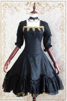 Strawberry Witch Devil Rose Elegant Black Jacquard Gothic Lolita OP Dress