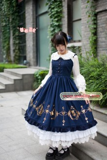 Strawberry Witch Alice In Wonderland Hot Stamping Lace Sweet Lolita JSK Dress 3 Colors