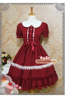 Strawberry Witch Candy Chiffon Ice Cream Puff Doll Collar Sweet Lolita Dress 6 Colors