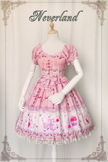 Neverland  Cherry Deer Chiffon MINI Sweet Lolita OP Dress 4 Colors