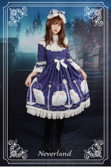 Neverland Starry Sky Aquarius Detachable Hime Sleeves Stand Collar Sweet Lolita OP Dress 3 Colors