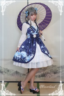 Neverland Hundred Ghosts Walking at Night Snow Girl Side Cardigan Sweet Lolita JSK Dress
