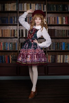 Neverland Chocolate Bear Printing Sweet Lolita Strap JSK Dress 5 Colors