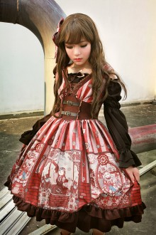 Neverland Steam Punk Cat Beam Waist Little High Waist V Collar Classic Lolita SK 3 Colors