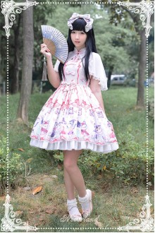 Neverland Chinese Garden Meow Shawl Two Pieces Sweet Lolita Dress 3 Colors
