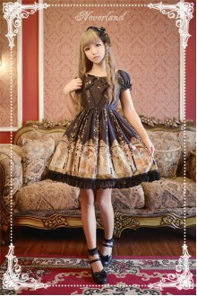 Neverland Mucha Four Seasons Printing Mini Classic Lolita OP Dress 5 Colors